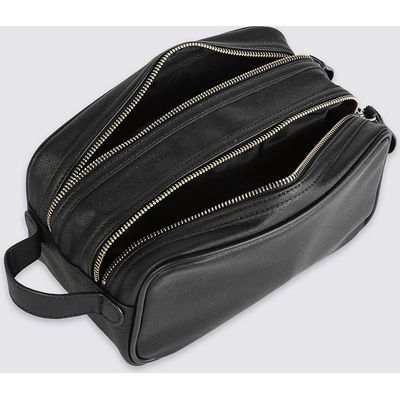 M&S Collection Textured Double Zip Washbag