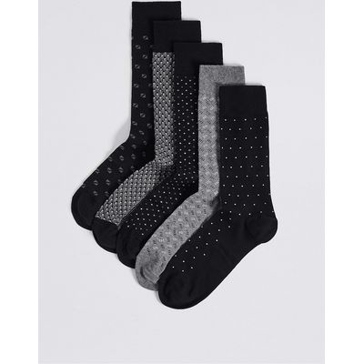 M&S Collection 5 Pairs of Cool & Freshfeet Assorted Socks