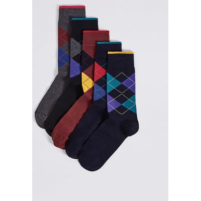 M&S Collection 5 Pairs of Cool & Freshfeet Argyle Socks