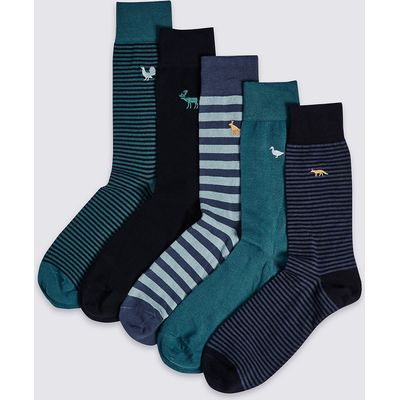 M&S Collection 5 Pairs of Cool & Freshfeet Embroidery Socks