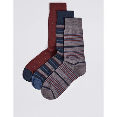 M&S Collection 3 Pairs of Merino Wool Rich Variegated Stripe Socks