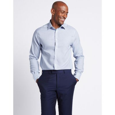 M&S Collection Pure Cotton Non-Iron Slim Fit Checked Shirt