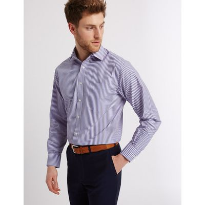 M&S Collection Easy to Iron Striped Shirt with Pocket
