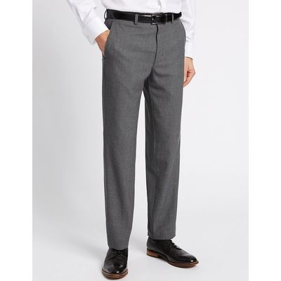 Savile Row Inspired Grey Tailored Fit Wool Trousers