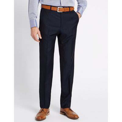 Savile Row Inspired Navy Textured Tailored Fit Wool Trousers