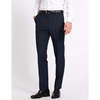 Savile Row Inspired Indigo Tailored Fit Wool Trousers