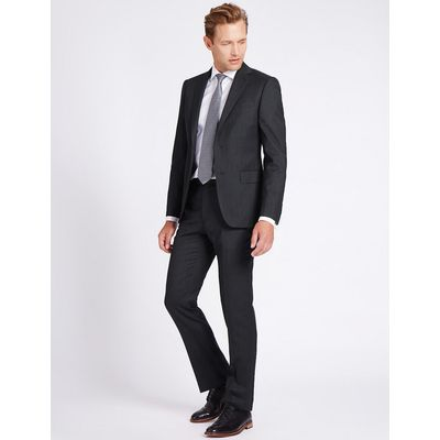 M&S Collection Luxury Charcoal Tailored Fit Wool Jacket