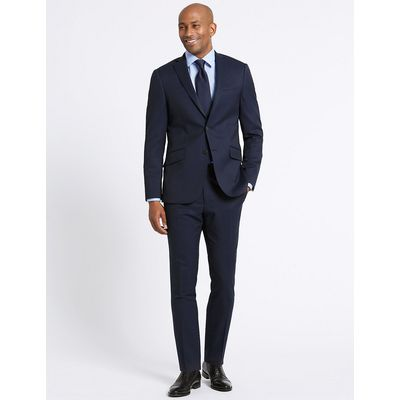 M&S Collection Luxury Navy Striped Slim Fit Wool Jacket