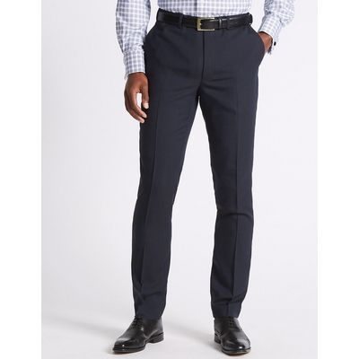 M&S Collection Navy Striped Tailored Fit Trousers