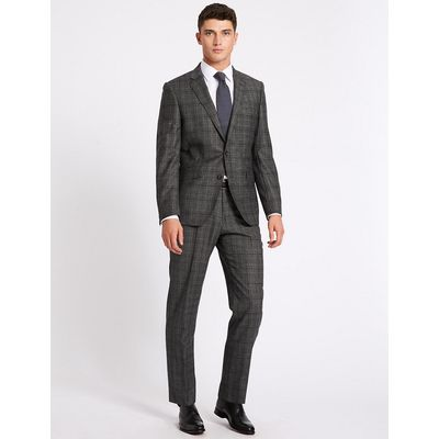 Savile Row Inspired Charcoal Checked Tailored Fit Jacket