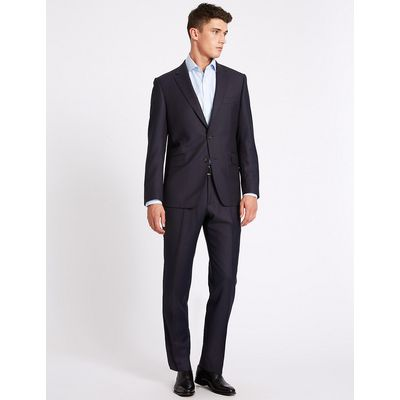Savile Row Inspired Navy Textured Tailored Fit Wool Jacket