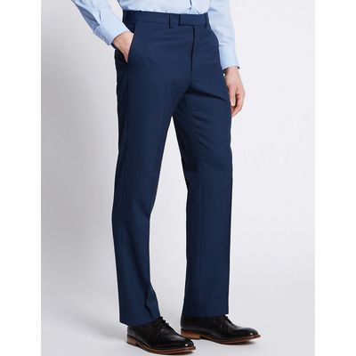 M&S Collection Indigo Textured Tailored Fit Trousers