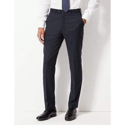 M&S Collection Tailored Fit Pure Wool Textured Trousers