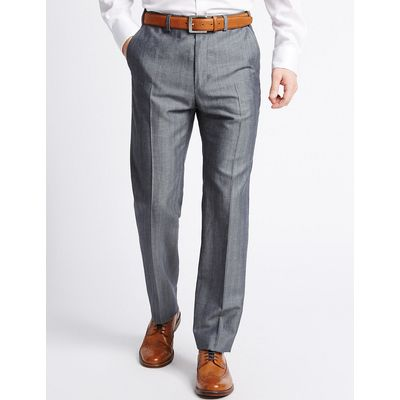 M&S Collection Tailored Linen Blend Flat Front Trousers