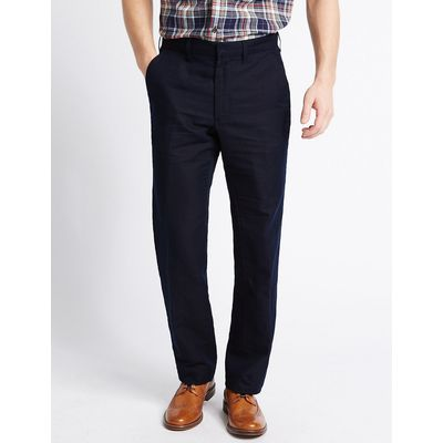 M&S Collection Big & Tall Tailored Linen Blend Trousers