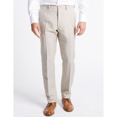 M&S Collection Linen Rich Textured Tailored Fit Trousers