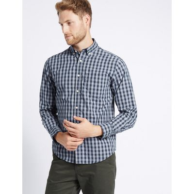 M&S Collection Pure Cotton Checked Shirt with Pocket