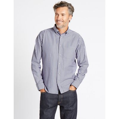 Blue Harbour Pure Cotton Striped Shirt with Pocket