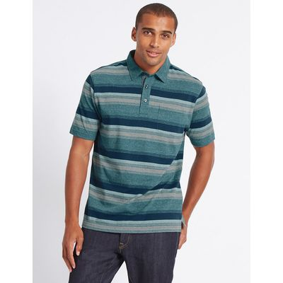 M&S Collection Pure Cotton Striped Polo Shirt