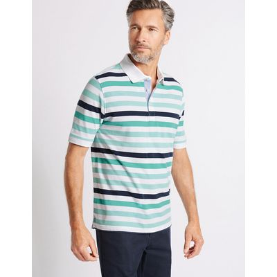 Blue Harbour Regular Fit Pure Cotton Striped Polo Shirt