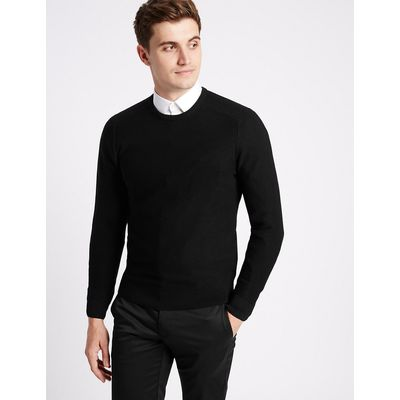 Limited Edition Cotton Blend Textured Slim Fit Jumpers