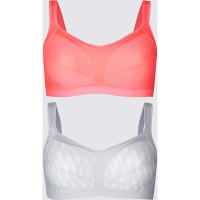 M&S Collection 2 Pack High Impact Full Cup Sports Bras A-GG