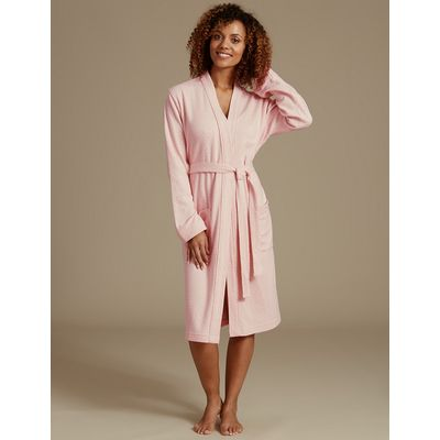 M&S Collection Pure Cotton Pin Spotted Print Dressing Gown