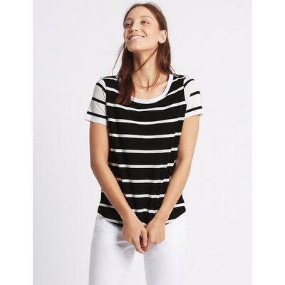 M&S Collection Pure Cotton Block Striped T-Shirt