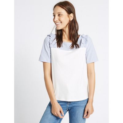 M&S Collection Modal Blend Striped Ruffle Shoulder T-Shirt