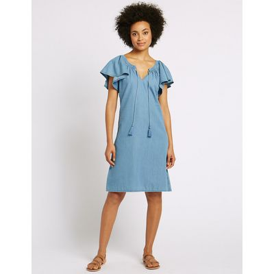 M&S Collection Cotton Rich Flutter Sleeve Swing Dress