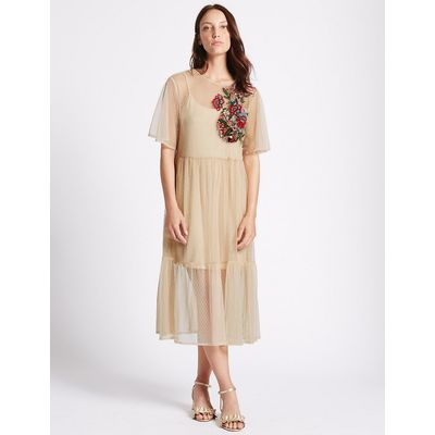 M&S Collection Embellished Spot Half Sleeve Tunic Dress