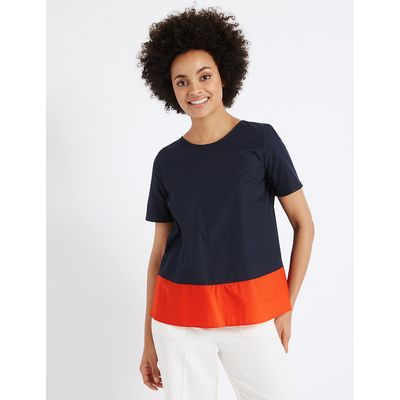 M&S Collection Pure Cotton Colour Block Shell Top