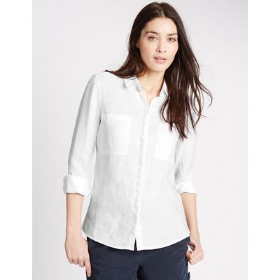 M&S Collection Pure Linen Long Sleeve Shirt