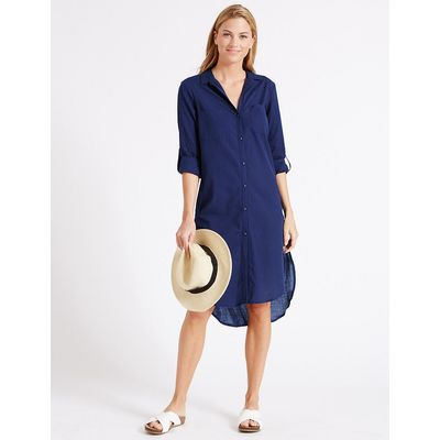 M&S Collection Pure Cotton Dipped Hem Shirt Dress