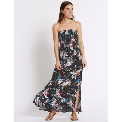M&S Collection Floral Print Shirred Maxi Dress