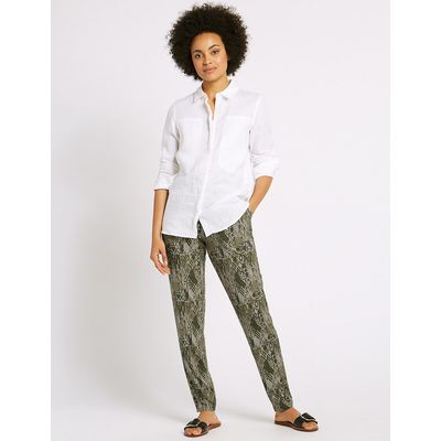 M&S Collection Geometric Print Tapered Leg Trousers