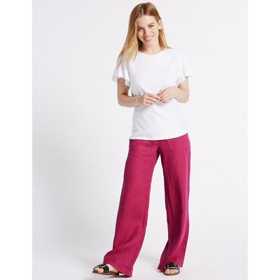 M&S Collection PETITE Pure Linen Wide Leg Trousers
