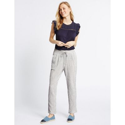 M&S Collection Cotton Blend Striped Tapered Leg Trousers