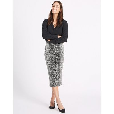 M&S Collection Snake Print Pencil Midi Skirt