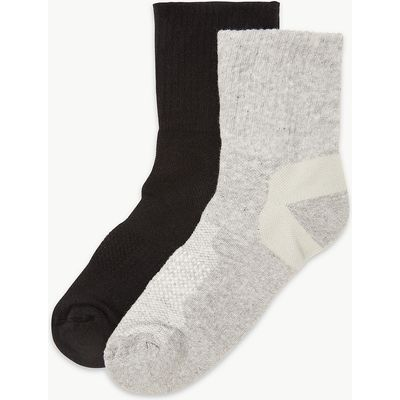 M&S Collection 2 Pair Pack Cotton Rich Blister Resist Ankle Socks