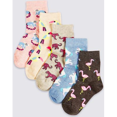 5 Pairs of Printed Cotton Rich Socks (1-14 Years)