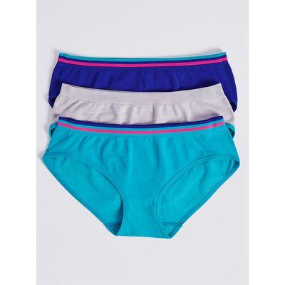 3 Pack Seamfree Long Line Bikini Knickers (6-16 Years)