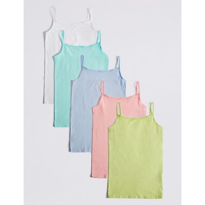 5 Pack Cotton Camisole Vests with Stretch (18 Months - 16 Years), Pastel