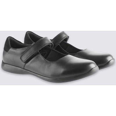 Kids' Leather Riptape Cross Bar School Shoes