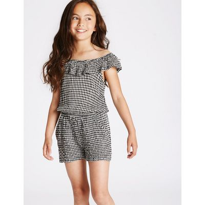 Cold Shoulder Gingham Playsuit (3-14 Years)
