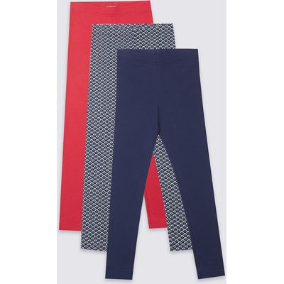 3 Pack Cotton Leggings with Stretch (3-14 Years)