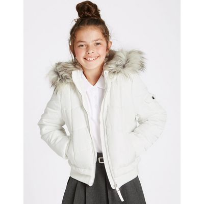 Faux Fur Zip Through Neck Jacket (3-16 Years)