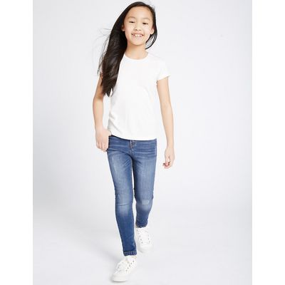 Cotton High Waisted Distressed Skinny Jeans with Stretch (3-14 Years)