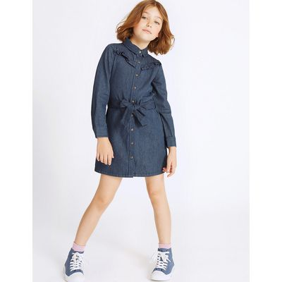 Denim Shirt Dress with Belt (3-14 Years)