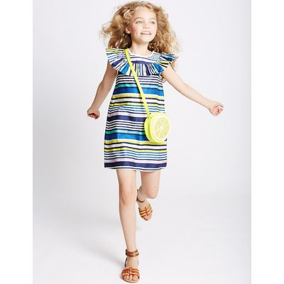 Pure Cotton Striped Dress (3-14 Years)